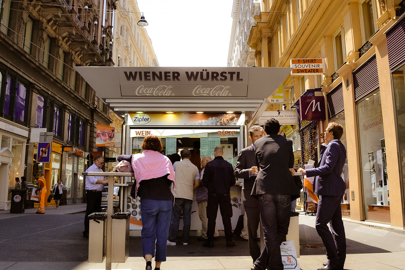 Lunchbreak at Wiener Würstl<br /> -Vienna, Austria