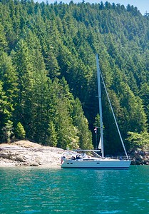 At anchor in Desolation Sound BC where the water in the summer in 76 degrees