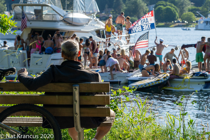 Partying on Lake Washington, Seward Park, Seattle, June 2018