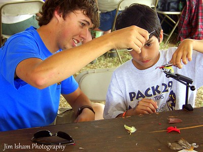 Scout Jamboree where my son learns the art of fly tieing
