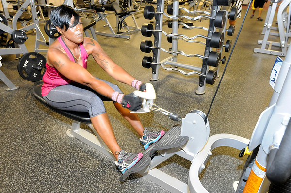 Don Knight   The Herald Bulletin<br /> Shyrley Jones works out at LivRite Fitness in Anderson in July. Jones began making lifestyle changes at age 47, and she hasn't turned back.