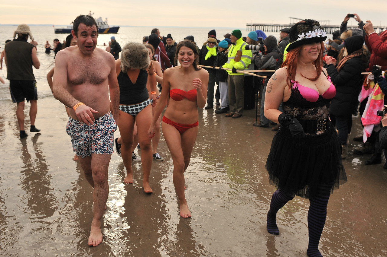 2014 POLAR BEAR CLUB'S NEW YEAR'S DAY PLUNGE - Coney Island, Brooklyn NY