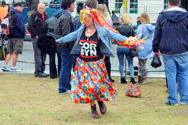Jeremy Corbyn supporter dancing.
