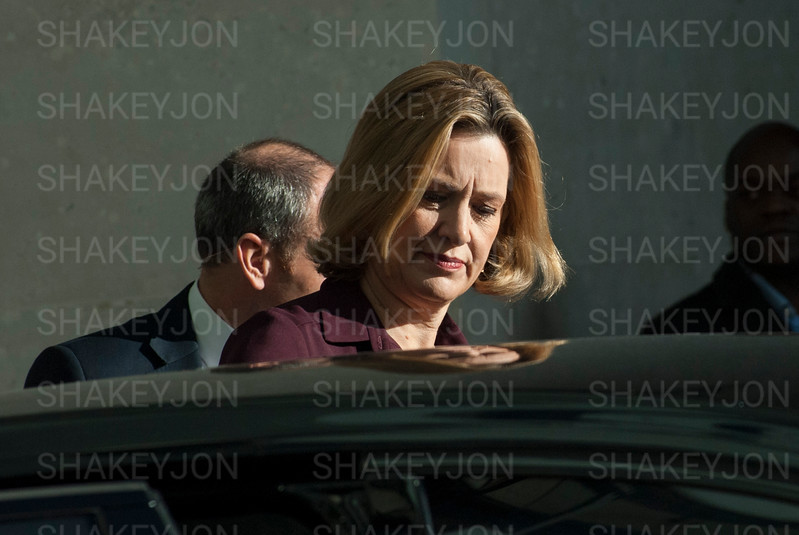 London, UK, Amber Rudd leaves the BBC after appearing on the Andrew Marr show - 05/11/2017