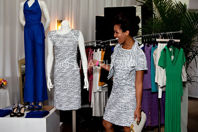 Erica Stringer looking at the Luca Luca dress (matching!)