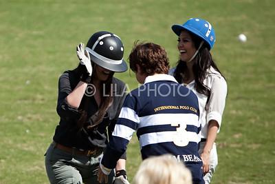 L-R: Scott Disick, Khloe Kardashian kidding around with Nic Roldan at the end of her Polo lesson, Kourtney Kardashian