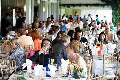 Full Crowd at Sunday Polo Brunch.  David and Michelle K in foreground; photography by: LILA PHOTO