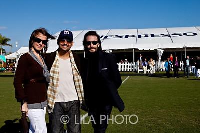 Kasia Maslanka, Rafael Urbeno, David K in front of Nespresso tent; photography by: LILA PHOTO