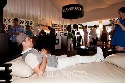 Sean Drake (Creative Mafia) relaxing on the furniture in the Nespresso Pavillion