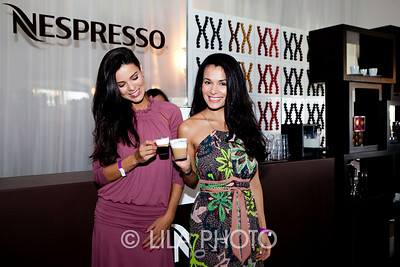 Gleicy Santos,  Isabelle Fontes enjoying their Nespresso
