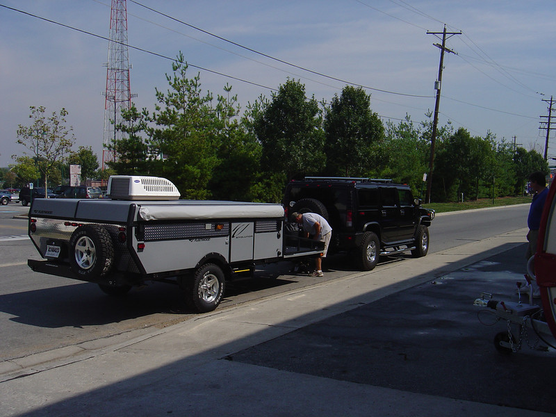 My tow vehicle is a black Hummer H2 which is able to pull the PUP to where ever I want to go.