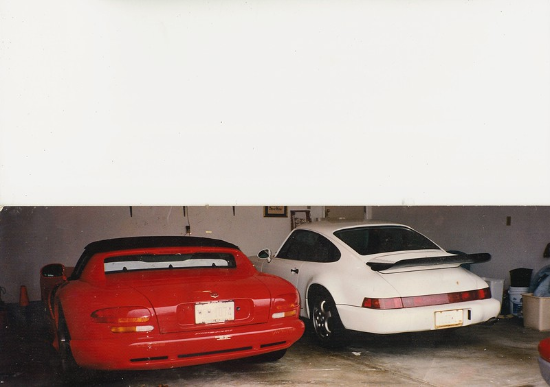 My garage c. 1996. One 1993 Porsche 911 and a 1996 Viper.