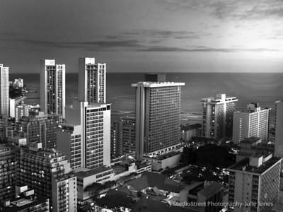 Evening skyline, Waikiki, Honolulu, Oahu, Hawaii