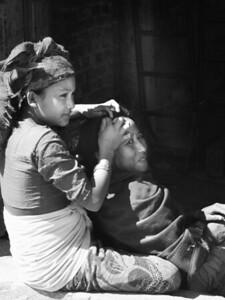 Lice check, Kathmandu, Nepal