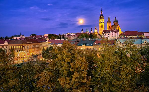 Hradec Kralove at full Moon