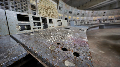 Chernobyl Nuclear Power Plant Reactor 4 Control Room - AZ5 button was located bottom right