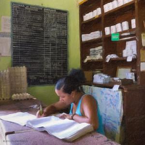 Employée aux écritures dans une boutique d'état