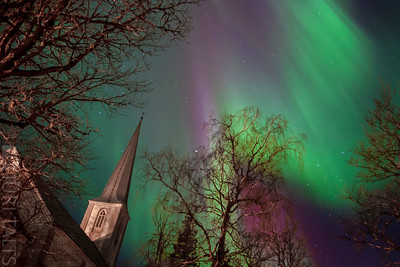 Northern light and the Nissi church