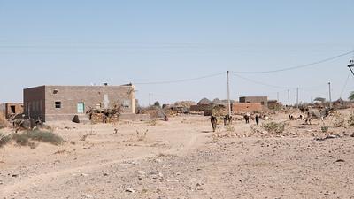 Petit hameau dans le désert du Thar, appelé aussi le Grand Désert indien ou le Pays de la mort. C'est un désert qui s'étend de l'État du Rajasthan au nord-ouest de l'Inde au Pakistan où il porte le nom de désert du Cholistan. C'est le 7e désert dans l'ordre de la superficie (200 000 km²). Il est encadré par l'Indus à l'ouest et la chaîne des Ârâvalli à l'est. Plus qu'un véritable désert, il s'agit en fait d'une étendue steppique où on rencontre une végétation très clairsemée dont seules les dunes suffisamment étendues sont dépourvues. Il reçoit moins de 200 mm d'eau par an. Ses villes principales sont Bîkâner et Jaisalmer. Malgré ces conditions de vie extrêmes, la vie est présente dans le désert. Parmi les mammifères, on note l'antilope pallas, la chinkara ou gazelle d'Arabie, le lynx caracal et le renard du désert. C'est aussi le désert le plus densément peuplé au monde. Cette zone est devenue désertique relativement récemment — peut-être entre 2000 av. J.-C. et le 1500 av. J.-C. À cette époque le fleuve Ghaggar cesse d'être un cours d'eau important et se perd dans le désert.