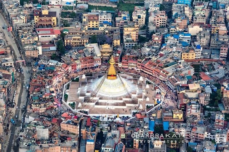 Boudhanath Stupa Aerial, Kathmandu, Nepal