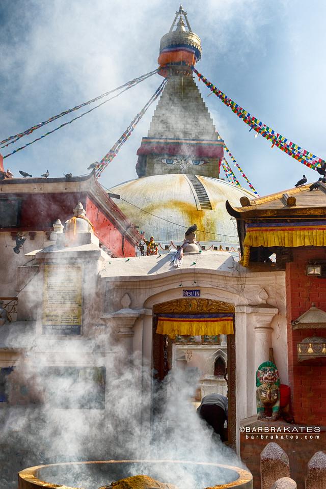 Boudhanath Stupa Incense, Kathmandu, Nepal