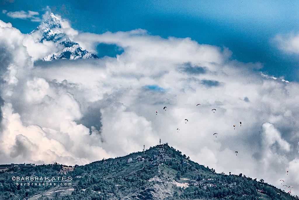 Anapurna Range and hang gliders, Pokhara, Nepal