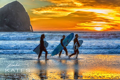 Pacific City, Or Sunset and Surfers
