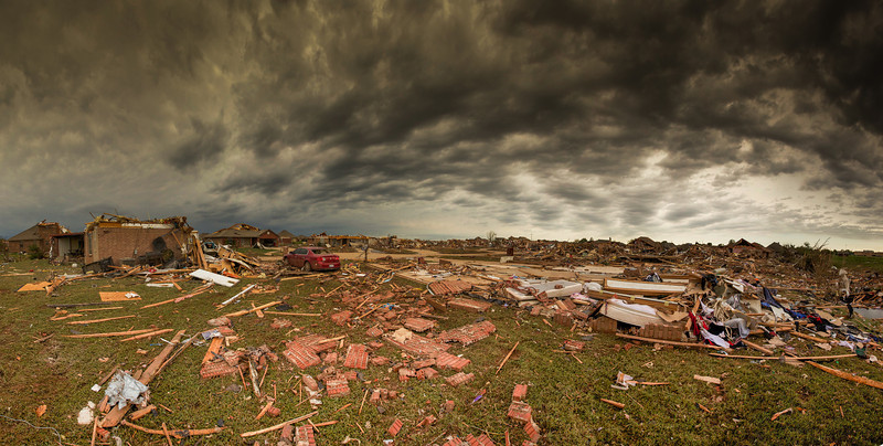 An entire neighborhood is totally leveled by a deadly tornado that struck Moore Oklahoma on May 20, 2013.