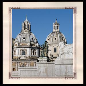 Coupole de Santa Maria di Loreto à Rome- XVe et XVIe (1er plan) et église Santissimo Nome di Maria