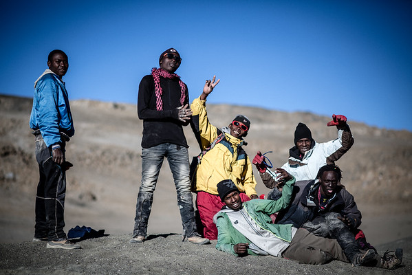 Porters having fun on Mount Kilimanaro in Tanzania, Africa