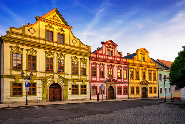 Baroque Frontage of Medieval Houses at Grand Square in Hradec Kralove