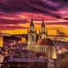 Amazing sunset in Prague