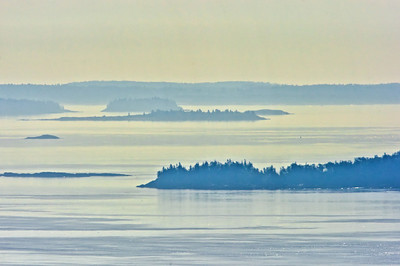 Penobscot Bay from Beech Hill on a foggy morning