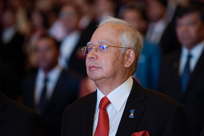 Malaysia's Prime Minister Najib Razak delivers a speech to the crowd during KL International Youth Discourse 2017 at the PWPC(Putra World Trade Center) on December 03, 2017 in Kuala Lumpur, Malaysia.