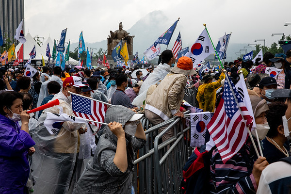 Tens of thousands of South Korea's Conservative and christian group try to march towards the Presidential palace(Cheong Wa Dae) during a protest against the government marking the 75th anniversary of the National Liberation Day on August 15, 2020 in Seoul, South Korea. The protesters gather to demand President Moon Jae-in step down.