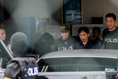 Malaysian police escort Ri Jong Chol who suspect of Kim Jong-nam's murder case.