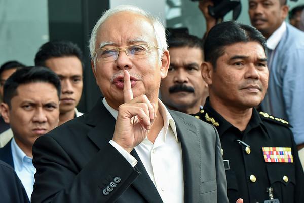 Malaysia's former Prime Minister, Najib Razak speaks at the Malaysian Anti-Corruption Commission, Putrajaya