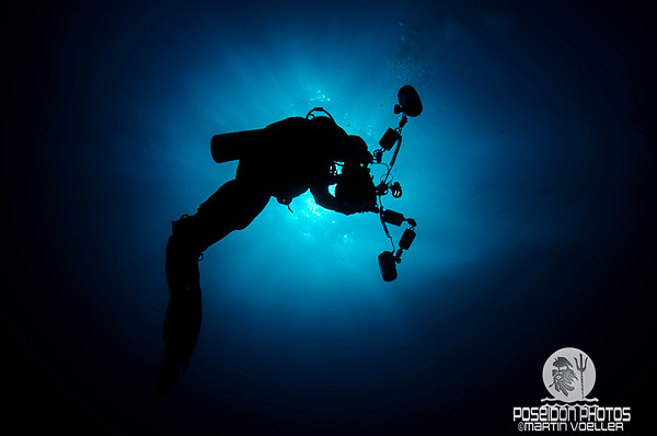 Silhouetted Photographer Underwater