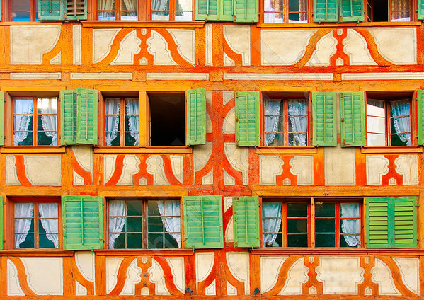 Beautiful windows on an old building in Lucerne Switzerland