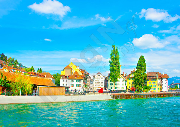 Beautiful buildings by the river at Lucerne town in Switzerland