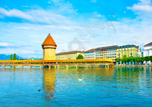 Panoramic vew of the older wooden bridge of Europe in Lucerne Switzerland