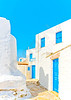 Beautiful stone made road with old traditional houses in Chora the capital of Amorgos island in Greece