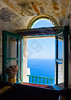 View to the sea from an open window of Hozoviotissa monastery in Amorgos island in Greece