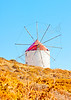 An old traditional beautiful windmill in Chora the capital of Amorgos island in Greece.