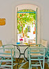 Inside of a beautiful cafe in an old traditional house in Chora the capital of Amorgos island in Greece