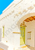 Beautiful stone made road like a tunel with old traditional houses in Chora the capital of Amorgos island in Greece