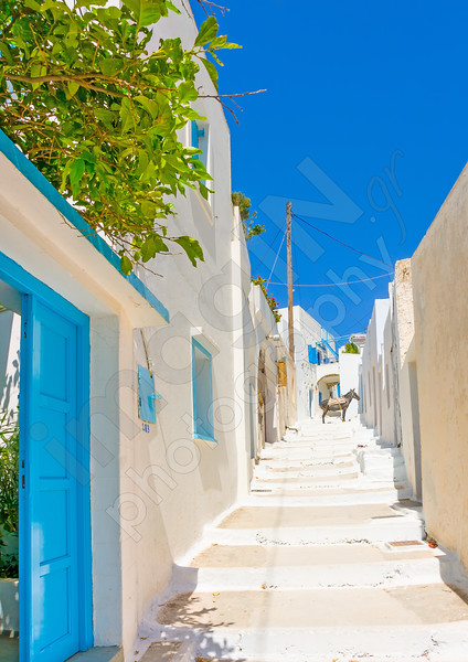 Beautiful typical cycladitic scene in Langada a vilage of Amorgos island in Greece