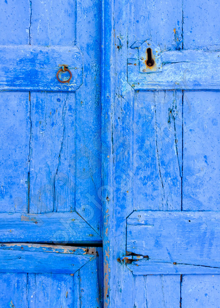 Detail of a blue colored wooden door in Langada a vilage of Amorgos island in Greece