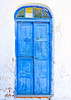 Beautiful blue colored wooden door of a house in Langada a vilage of Amorgos island in Greece