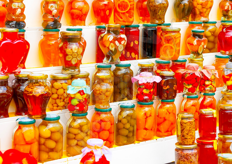 tradional home made bottled sweets at Portaria village on Pilion mountain in central Greece